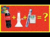 Вызов всем!!! Гейзерная трубка для кока-колы. Как сделать суперфонтан? Кола+ментос+тиктак