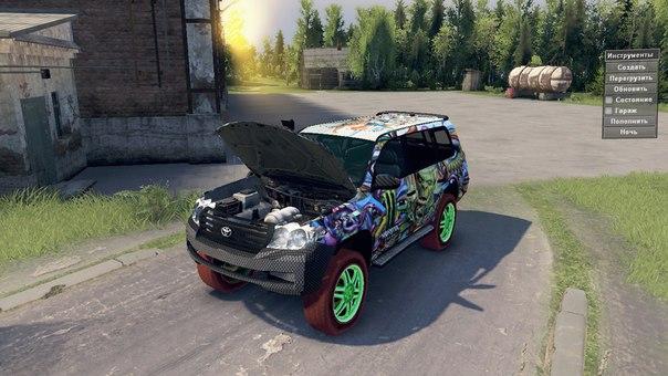 Monster Energy Toyota LC200 Drift для Spintires - Скриншот 1