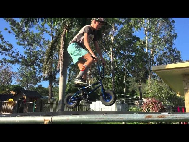 Bar spin on friends trampoline with a rocker ( Mini Bmx )