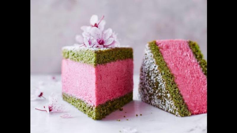 Муссовый торт Вишня-Матча / Cherry, matcha mousse cake