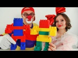 DIY for kids. LEGO robots with funny clowns.