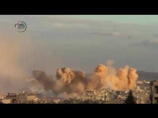 Сирия.Ми-25 ВВС САР продолжает наносить бомбовые удары по позициям боевиков в Моадамии,Дамаск..