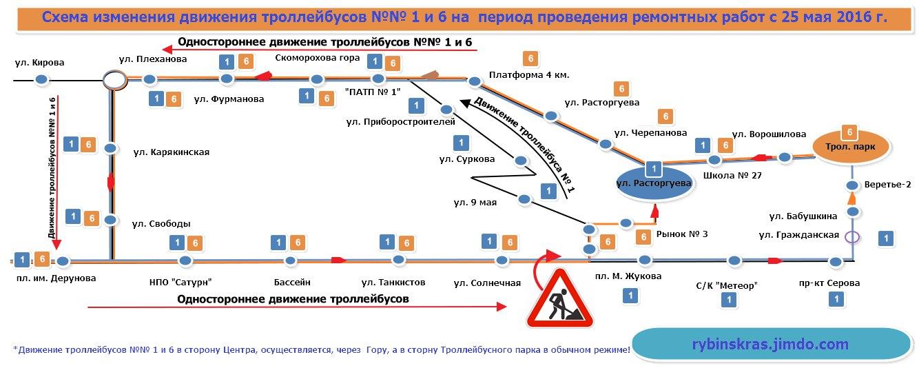 Схема объезда. Троллейбусы №1, №6