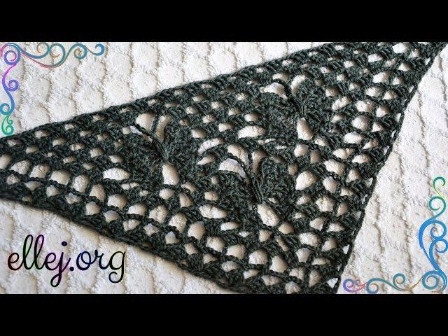 ♥ Узор крючком для шали-бактуса ЛУННЫЕ БАБОЧКИ • Шаль Лунная бабочка • Crochet Moon Butterfly Shawl