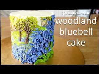 ( https://vk.com/lakomkavk) How to make a buttercream bluebell cake - piping & edible oil painting
