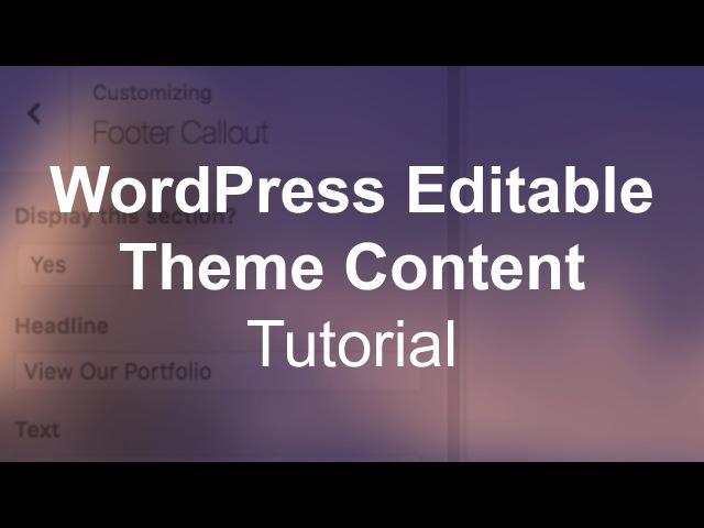 WordPress Custom Editable Theme Content Image Text Tutorial