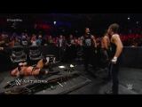 WWE Network- Rollins, Reigns and Ambrose Triple Power Bomb Randy Orton through the announce table