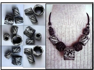HEAVY DUTY CHUNKY SILVER PAPER BEADS, large hole, scarf sliders, how to diy, newspaper beads