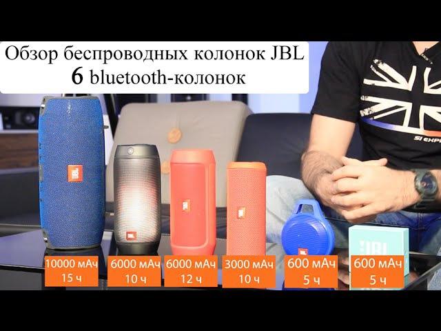 Обзор 6-ти беспроводных колонок (bluetooth) JBL Go, Clip, Flip 3, Charge 2, Pulse 2, Xtreme