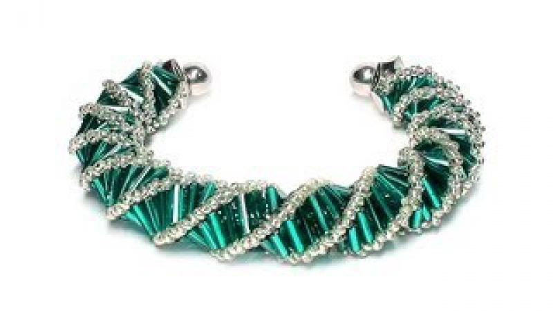 Tutorial beads style №3 for pandora bracelet Спиральный жгут из бисера и стекляруса