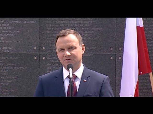 Prezydent Andrzej Duda podczas obchodów 72. rocznicy w Muzeum Powstania Warszawskiego 30-07-2016