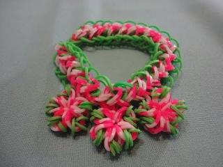 Браслет КОСА РУСАЛКИ С ЦВЕТАМ из резинок Rainbow Loom Bands   Bracelet Rainbow Loom