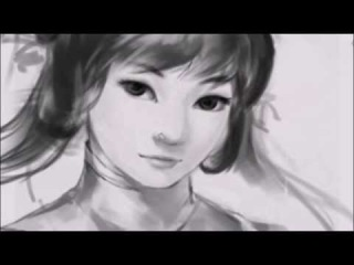 Speed Drawing  a Cute Asian Girl in Traditional Asian Dress with  Adobe Photoshop