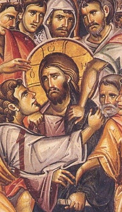 Предательство Иуды. Фрагмент фрески монастыря Ватопед. Святая гора Афон, 1312г.