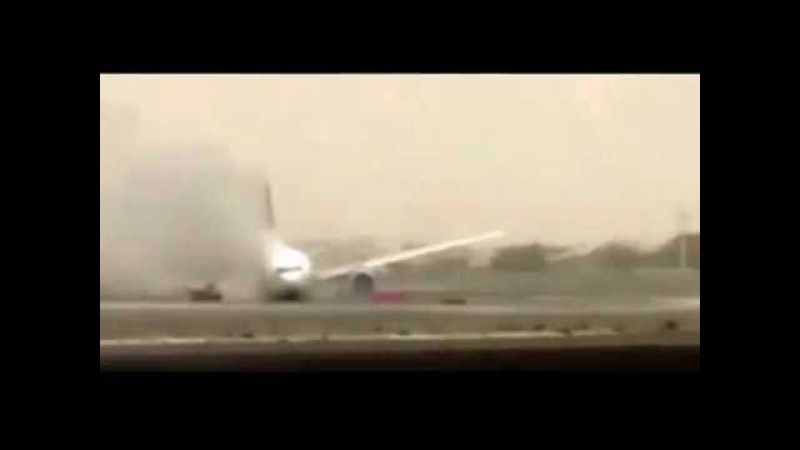 Watch Emirates plane crash-land in Dubai with 275 people on board