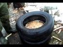 Быстрая колка дров с помощью покрышек \\Quick chopping wood with tires