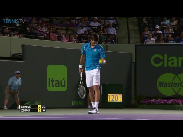 Djokovic amazing ball-in-pocket catch at 2016 Miami Open