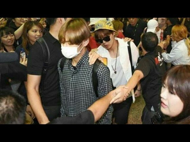 160608 BTS at Taoyuan Airport Taipei the brutally fans jimin fell down