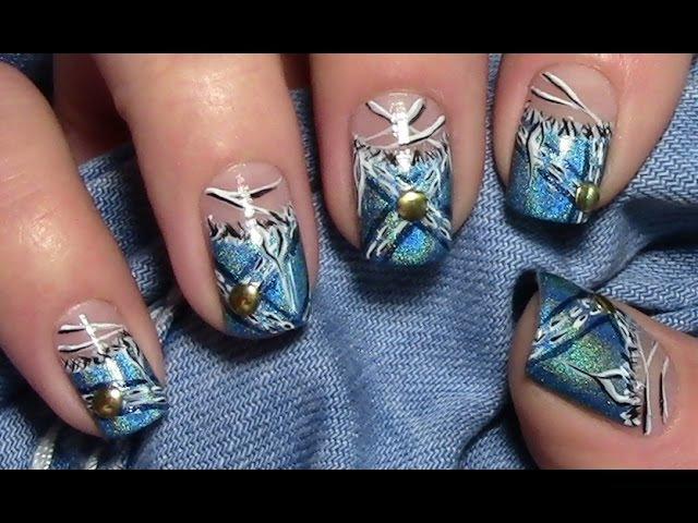 Holo Jeans Nägel / Zerrissene Jeans Nageldesign für kurze Nägel / Material Nails Nail art Design