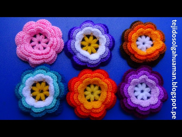 Flor tejida a crochet o ganchillo N° 1para adornar gorros y el cabello paso a paso fácil y rápido