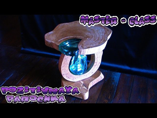 Table of wood and crystals Стол из дерева и хрусталя