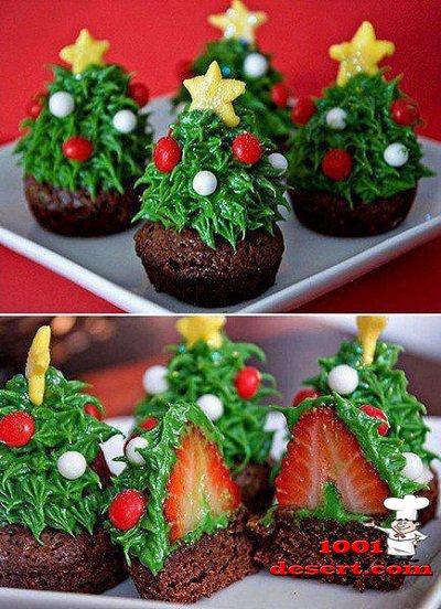 Украшение тортов фруктами елки фото