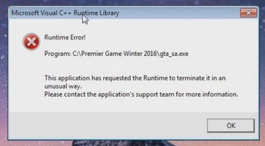 ошибка runtime