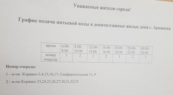 График отключения питьевой воды в Армянске. Ноябрь 2015