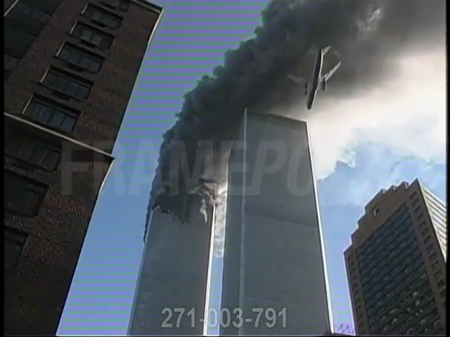 WTC 1 Burning, WTC 2 Plane Impact Immediate Aftermath (Luc Courchesne/Framepool/Enhanced Quality)