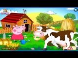 Пеппа Пиг работаем на Ферме кормим животных Корову и уточку  Мультик про Пеппу