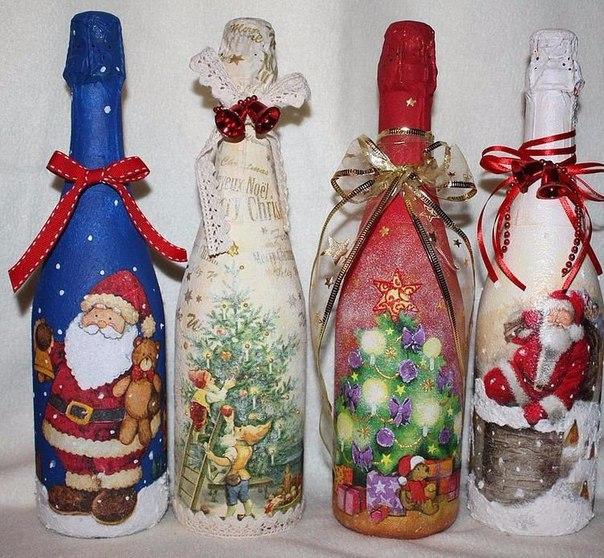Оформление бутылки шампанского своими руками на новый год фото