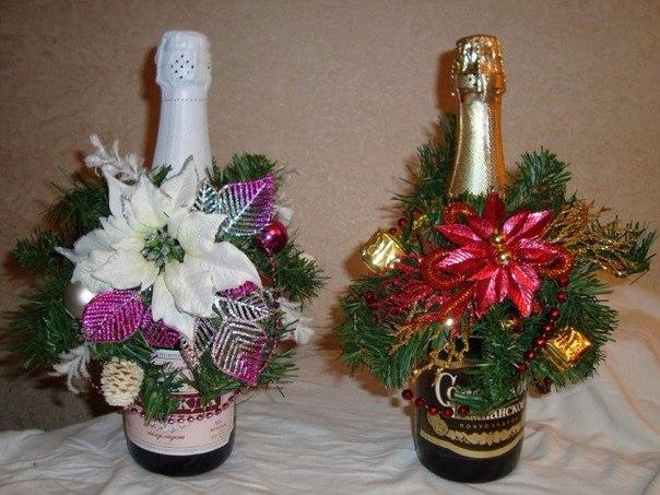 Новогоднее оформление шампанского своими руками