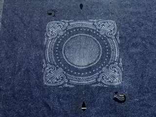 Denim fabric laser engraving and cutting by STYLECNC laser engraving and cutting machine