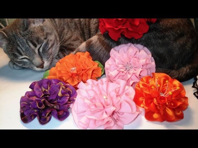 Fabric flowersquilling flowertwo ways of cutЦветы из ткани цветочки-рюшдва вида крояМК