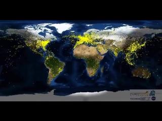 Движение самолётов по всему миру в течение суток