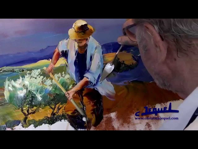 01 - Démonstration de peinture au couteau par Christian Jequel: Moisson