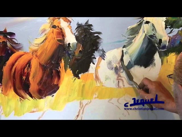 02 - Démonstration de peinture au couteau par Christian Jequel: Chevaux