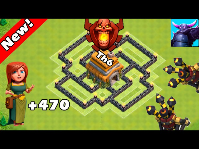 Clash Of Clans - New Update - TH6 Farming base 2 air defense ANTI EVERYTHING! - TH2 Trophy Base 2016