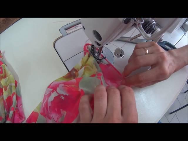 Как вшить нитку-резинку. Пример вшивания в несколько строчек.