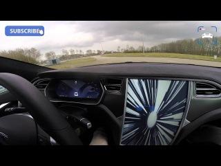 2016 Tesla Model S P90D 762 HP LUDICROUS TOP SPEED Acceleration on AUTOBAHN Test Sound