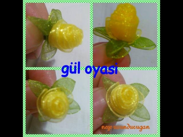 Organze Kurdele oyaları TOMURCUKLU KATLAMALI GÜL Forex flower,health flower, summer flower