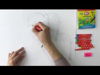 Уроки рисования. Как нарисовать ПОНИ РАДУГУ ДЭШ мелками ArtBerry How to draw pony Rainbow Dash