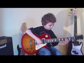 Dustin Tomsen 8 yr old covers KISS Parasite   solo (Studio version !!!)