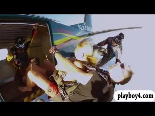 Naughty badass hot babes wind burn skydiving naked