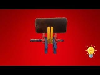 Лайфхак Как сделать подставка для телефона из прищепок