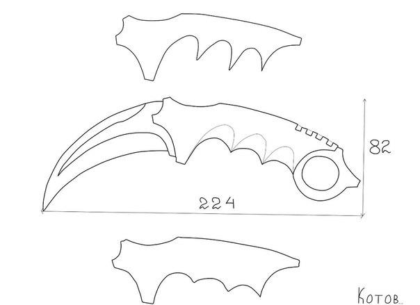 Как сделать нож керамбит  чертежи
