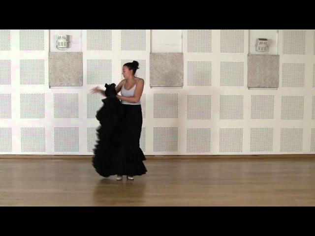 Técnica avanzada de bata de cola flamenca Cogida 2
