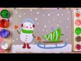 Как нарисовать снеговика с елочкой на санках - урок рисования для детей от 5 лет,  ...