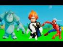 Человек Паук, Синдром Суперсемейка и Салли Корпорация Монстров, Игра мультик для детей машинки ТАЧКИ