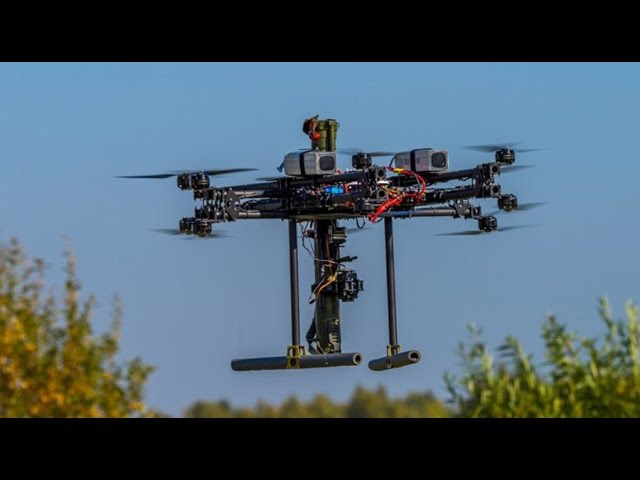 Combat drone footage: Military anti-tank multicopter in action